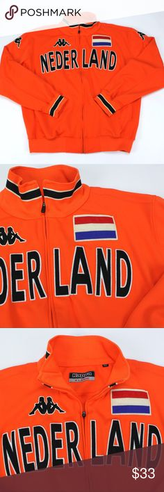 Netherlands Dutch Football Jacket XL Orange Oranje KAPPA Nederland Football Jacket Oranje! Holland Flag Kappa logos Nederland spellout Excellent condition Size XL READY TO SHIP Kappa Jackets & Coats Performance Jackets