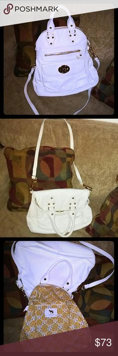 """☀Beautiful Leather Satchel/Crossbody Bag☀ In great used condition. Flawless interior! Egg shell white in color. Gold tone hardware sets this bag on 🔥! Apprx 15"""" H x 13-15"""" W x 3.5 D. Includes, at its longest, an adjustable 38"""" L strap. Please see pics # 6-8 for flaws. 🚫No dust bag with this purchase. * Stain bottom right corner (looks worst in pics) * Missing EF hang tag/charm * A few dings/dents on front pocket flap None takes away from this! Price does take in consideration all…"""