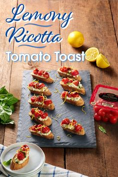 Adding some mouthwatering flavor is simple. Find the freshest lemons and all the amazing ingredients you need to quickly make a beautiful recipe, like Lemony Ricotta Tomato Toasts. Yummy Snacks, Healthy Snacks, Healthy Recipes, Ricotta, Tomato Toast Recipe, Lemon Herb, Tasty Bites, Roasted Tomatoes, Summer Recipes