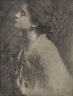 "Edward Steichen - Lilac Buds; Mrs S. , 1906  Maker: Edward Steichen (1879-1973) Born: Luxembourg Active: USA Medium: photogravure on Japan paper tissue Size: 8"" x 6.25"" Publication: Camera Work 14 , 1906"