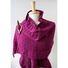 Rococo Cotton and Silk Hand-Knit Shawl in Orchid from Elena Rosenberg Wearable Fiber Art - Winter Pop-Up Shop for $330.00 on Square Market