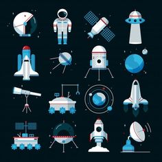 Buy Spacecrafts Instruments Equipment Flat Icons Set by macrovector on GraphicRiver. Spacecrafts flat icons set with cosmonaut space suit and equipment with black background poster abstract vector illus. Flat Icons, Flat Design Icons, Web Design, Icon Design, Icon Set, Space Illustration, Mosaic Pictures, Elegant Business Cards, Business Icon