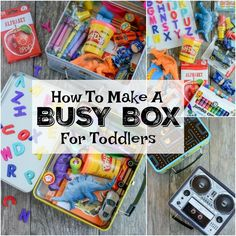 travel idea for toddlers How To Make A Busy Box For Toddlers Learn how to make a busy box for toddlers. Theyre perfect for keeping toddlers busy at a restaurant, on a plane, while mom is nursing and more! Kids Travel Activities, Road Trip Activities, Toddler Learning Activities, Games For Toddlers, Infant Activities, Indoor Activities, Summer Activities, Learning For Toddlers, Family Activities