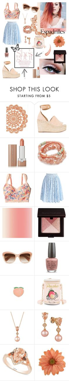 """""""Peaches, Vintage & Lipstick."""" by galacticgoth ❤ liked on Polyvore featuring Chloé, Marc Jacobs, Shashi, Hollister Co., Chicwish, Laura Mercier, Oliver Peoples, OPI, PINTRILL and Betsey Johnson"""