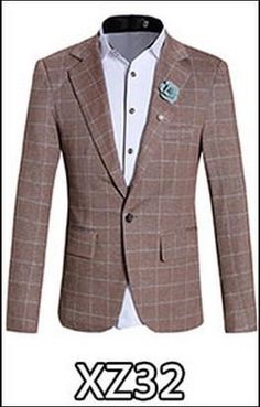 New 2017 Brand Casual Plaid Blazer Jacket Men Flower Brooch Korean Trend Suit Male Wedding Dress Slim Fit White Blazer Coat Man