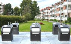 Rubbish bins in one of the residential complex in Oslo