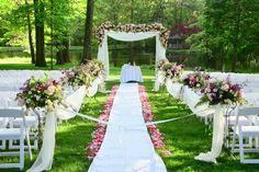 floral decorated garden wedding idea