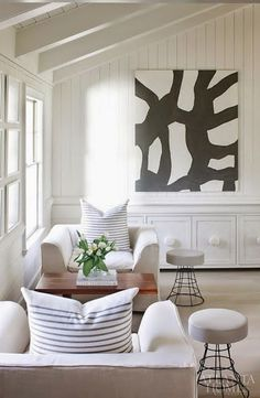 White backdrop, graphic art, seating