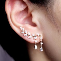 EVERU CZ Vine Jewelry Sweep Wrap Crystal Rose Gold Leaf Ear Cuffs Set Stud Earrings for Women