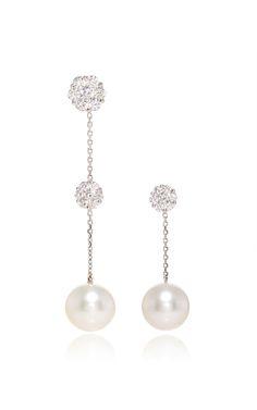 18 K White Gold Cultured Pearl Diamond Earrings by YOKO LONDON