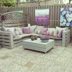 L-Shape crate seating (( Florida room // outdoor ))