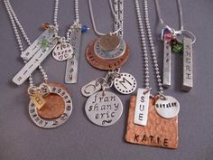 Hand Stamped Personalized Jewelry Design a personalized piece for yourself or gift giving. Metals available include: sterling silver, copper & gold-fill. Diy Jewelry Findings, Wire Jewelry, Jewelry Crafts, Jewlery, Soldering Jewelry, Bullet Jewelry, Jewelry Ideas, Geek Jewelry, Necklace Ideas