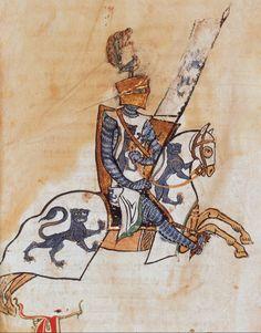 Chevalier avec armoiries au léopard d'azur (vue 152, détail) -- Annales de Gênes, par Cafaro, 1101-1300, manuscrit latin [BNF, Ms. Latin 10136]
