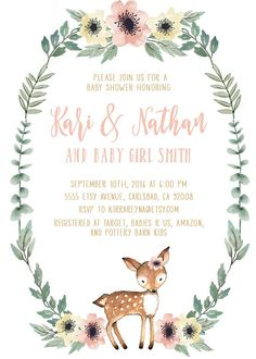 Woodland baby shower invitation girl deer baby shower invites baby girl deer baby shower invitation kirrareynadesignssy filmwisefo