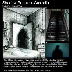 Shadow People in Australia. Here are two experiences that people have had with 'shadow people'. Have you ever encountered one yourself? Head to this link to read more: http://www.theparanormalguide.com/1/post/2013/03/shadow-people-in-australia.html