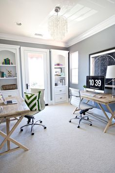 Home Office Layout. Shared Home Office Layout Home Office Layout. Shared Home Office Layout Studio McGee. Home Office Layouts, Home Office Space, Home Office Decor, Home Decor, Office Spaces, At Home Office Ideas, Home Design, Web Design, Design Desk