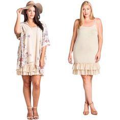 88e3d13015328 Taupe 3xl Extender Crochet Top Tank Slip Tunic Casual Dress