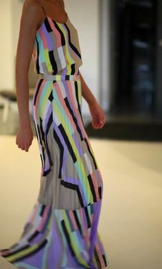 Neiman Marcus dress. These stripes remind me of the SMPTE color bars that sometimes show up on TV screens