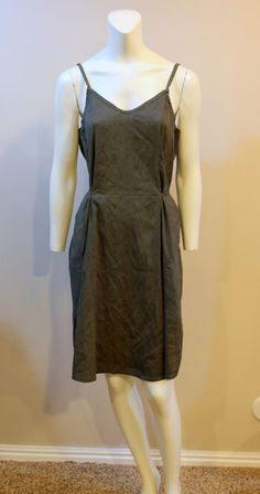 FLAX Jeanne Engelhart Small Silk Green A Line Knee Length Tank Sun Dress  #Flax #Shift