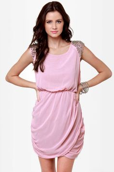 Chic on Your Shoulders Beaded Pink Dress