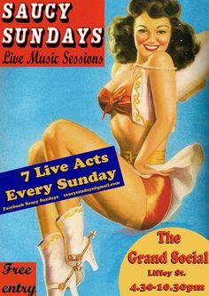 Saucy Sundays Poster Live Music, Zine, Acting, Sunday, Blog, Movie Posters, Graphic Design, Domingo, Film Poster