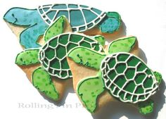 Happy Sea Turtles enjoying the Summer, cookies by Rolling Pin Productions www.rollingpinproductions.com