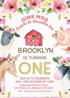Girls First Birthday Theme Ideas, 2nd Birthday Party For Girl, Farm Animal Birthday, Farm Birthday, 1st Birthday Invitations, Farm Party, Farmers, Farm Animals, Turning