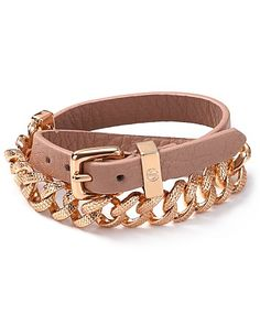 MARC BY MARC JACOBS Leather and Chain Double Wrap Bracelet |
