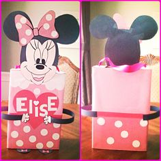 Elise's Minnie Mouse Valentine's Day box for cards and goodies. Made by Maria out of a cereal box, ribbon and construction paper. There is a slot on top for the kids to insert their valentines. Too cute!!