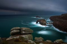 Land's End in Cornwall, as a storm approaches, photo by Adam Burton.