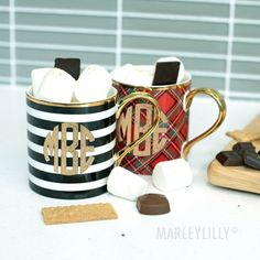 NEW DESIGNS! Our Monogrammed Mugs now come in plaid and stripes! A perfect gift for the coffee lover in your life