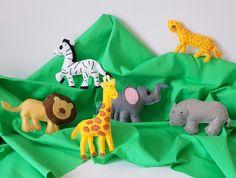 Items similar to Safari Animals Felt Ornament, Jungle Theme Decor, Pretend Play Animals on Etsy Jungle Theme Decorations, Jungle Theme Parties, Safari Party, Safari Animals, Felt Animals, Dinosaur Toys, Dinosaur Stuffed Animal, Cute Giraffe, Safari Nursery