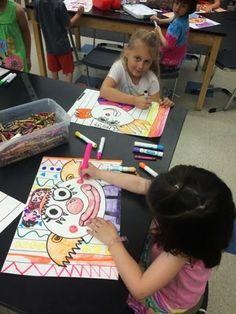 Kindergarten & grade rainbow clowns grade 1 art, first grade art, a First Grade Art, 2nd Grade Art, Kindergarten Art Lessons, Art Lessons Elementary, Jamestown Elementary, Art Therapy Activities, Elements Of Art, Art Plastique, Art Education