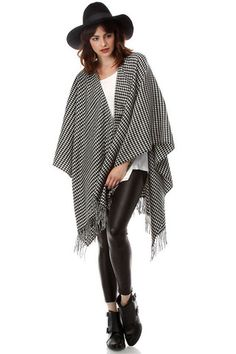 Women's Hounstooth Check Fringe Poncho/Oversized Wrap in Black/White Fall Scarves, Houndstooth, Womens Scarves, Scarf Wrap, Kimono Top, Bell Sleeve Top, Black And White, Winter, Shopping