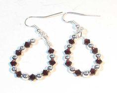 January Birthstone Earrings  Garnet Swarovski Hoops by lindab142