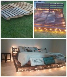 Wood pallet bed with lights. How to build a wood pallet bed