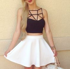 Skater skirt with detailed top