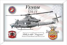 Venom UH-1Y 12x18 Fully Personalized $45 www.custommilitaryart.com http://stores.ebay.com/custommilitaryart