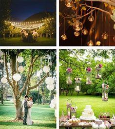 Invista na iluminação exterior caso seu casamento no campo seja a noite ou final de tarde – varal de luzinhas e luminárias japonesas se complementam bem.