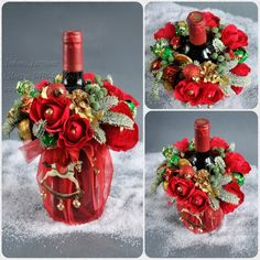 Candy Bouquet Diy, Bouquet Box, Diy Bouquet, Christmas Jar Gifts, Noel Christmas, Christmas Crafts, Christmas Decorations, Xmas, Wine Craft