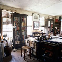Randolph Martz draughting room houses some of his vast collection of 12, 000 books