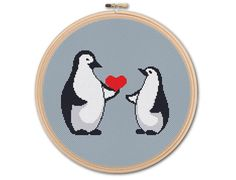 Penguins in love Counted Cross stitch Pattern PDF Cross