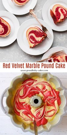 Red Velvet Marble Cake with How To Video!-Red Velvet Marble Cake with How To Video! Red Velvet Marble Cake Recipe is holiday perfection! Vanilla and red velvet flavors get swirled in a perfectly tender, moist and absolutely decadent pound cake! Easy Cheesecake Recipes, Pound Cake Recipes, Easy Cake Recipes, Cupcake Recipes, Cupcake Cakes, Dessert Recipes, Cupcake Videos, Pumpkin Cheesecake, Bundt Cakes