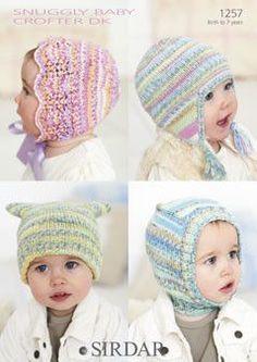 Sirdar Pattern 1257 Snuggly Baby Crofter DK T-Bag Hat Size 0-6 mths 6-12 mths 1-2 yrs 2-3 yrs 4-5 yrs 6-7 yrs Snuggly Baby Crofter DK - Shade 163 1 1 1 1 1 1 50g balls Helmet Size 0-6 mths 6-12 mths 1