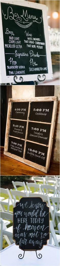 Chic rustic chalkboard wedding signs #wedding #rusticwedding #weddingideas #weddingsigns