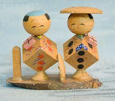 Kokeshi Japanese Wooden Doll Set -
