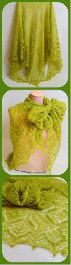 Knitted Large Mohair Womens Shawls - Green Lace Handmade Knitted Fall Shawl - Winter Wrap Shawl For Women - Gift For Her - Gift For Mom #ItWasYarn