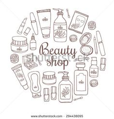 Glamorous hand drawn card template with make up objects â?? shampoo, cream, lipstick, mascara nail-polish, perfume, lotion, eyeshadow. Doodle cosmetics background for beauty shop.
