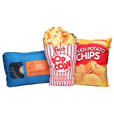 Great idea for a theater room or kids room ThinkGeek :: Movie Night Accent Pillows Food Pillows, Funny Pillows, Couch Cushions, Cute Pillows, Throw Pillows, Decor Pillows, Scatter Cushions, Floor Cushions, Movie Party