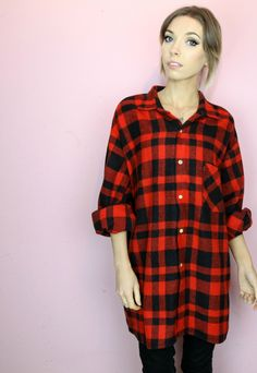 "Vintage 90s grunge check shirt, very thick material. Oversized boyfriend fit. Looks great layered overt any outfit or could be worn with tights and boots SIZE: Large, will fit 8-18 depending how you want it to fit. (our model is size 8 5'4"" for reference) CONDITION: Excellent. This item is vintage and signs of natural wear & age are to be expected. MEASUREMENTS: Chest: 50"" Full Length: 34"" One size. Can fit various sizes depending on your desired look e.g. oversized or ..."